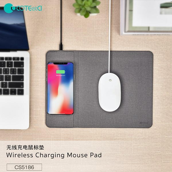 Coteetci Wireless Charger Mouse Pad Mat Fast 10W Qi Charging - Grey