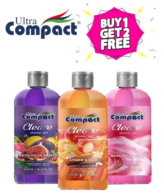 ألترا كومباكت جل الاستحمام كلير (3 زجاجات × 500 مل)