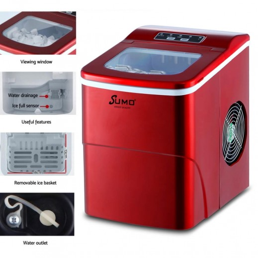 Sumo 90W Portable Ice Maker and Thermos Container - Red SX-9050